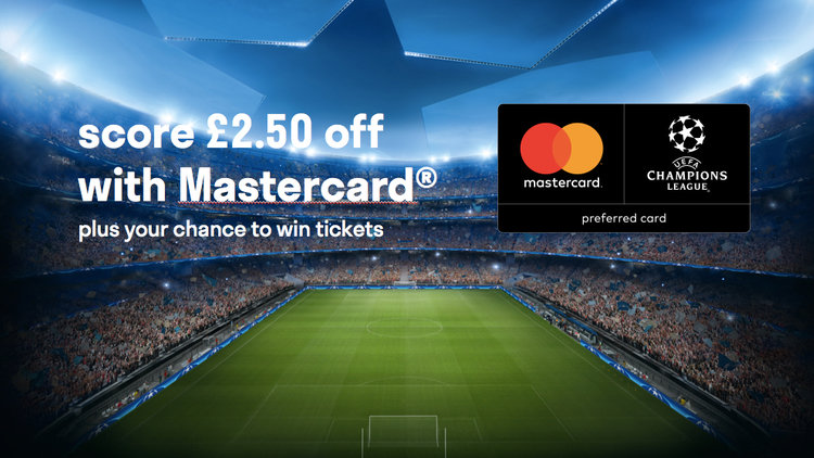 Score £2.50 off with Mastercard